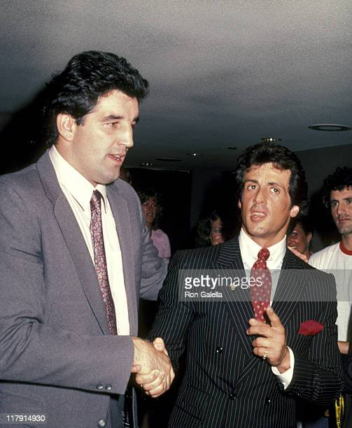 Gerry Cooney And Sylvester Stallone during Lee Canalito Vs Curtis Whitner Boxing Match at Tropicana Hotel Casino in Atlantic City New Jersey United...