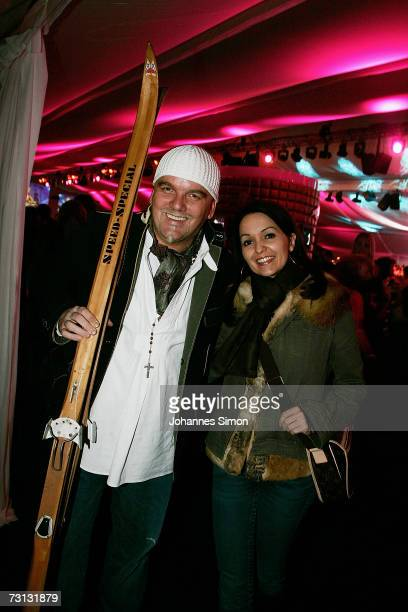 Gerry Friedle aka DJ Oetzi and his wife Sonja attend the Kitzrace Party January 27 in Kitzbuehel Austria