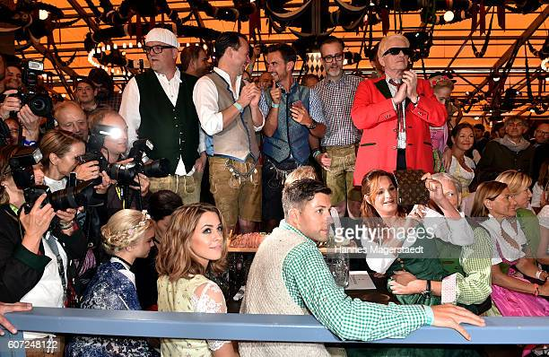 Gerry Friedle, Heino, Florian Silbereisen, Uli Ferber, Andrea Berg, Andreas Ferber and Vanessa Mai during the opening of the 2016 Oktoberfest beer...
