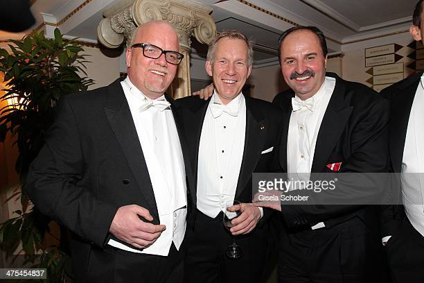 Gerry Friedle Johannes B Kerner and Johann Lafer attend the traditional Vienna Opera Ball at Vienna State Opera on February 27 2014 in Vienna Austria