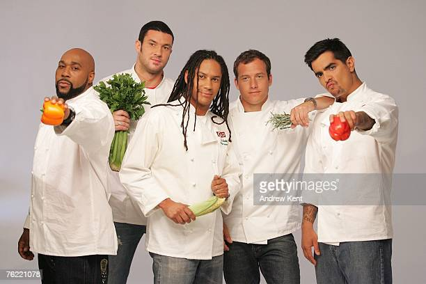 Gerry Garvin Sam Talbot Govind Armstrong Dave Lieberman and Aason Sanchez pose during a photo shoot of the five chefs in Glad's Steamiest Chef...