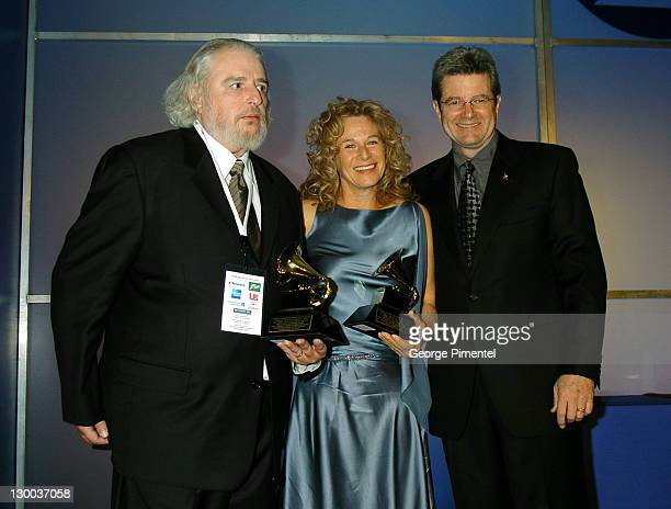 Gerry Goffin Carole King and Van Cliburn during The 46th Annual GRAMMY Awards Nominee Reception and Special Awards Ceremony at California Science...