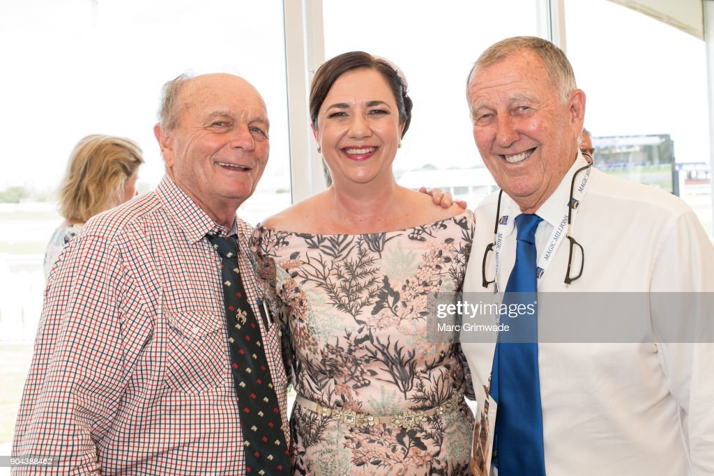 Gerry Harvey, Premier of Qld Anastasia Palaszczuk and John Singleton attend the Magic Millions Raceday on January 13, 2018 in Gold Coast, Australia.