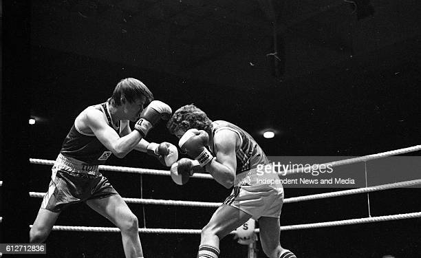 Gerry Hawkins and Ronnie Carroll in the Flyweight Contest at The National Stadium, circa January 1983 .
