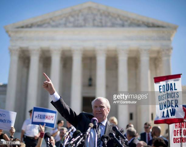 Gerry Hebert executive director of the Campaign Legal Centers speaks outside the US Supreme Court in Washington DC October 3 after the court heard...