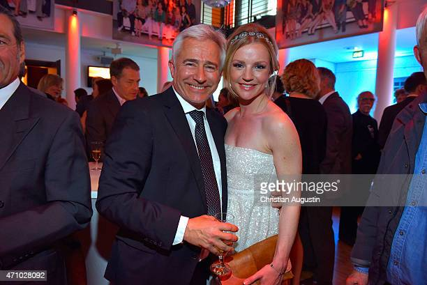 Gerry Hungbauer and Kim Sarah Brandts attend the celebration of 2000 episodes of Rote Rosen at Ritterakademie on April 24 2015 in Lueneburg Germany