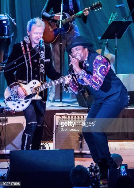 Gerry Leonard and Bernard Fowler performs during the Celebrating David Bowie concert at The Royal Oak Music Theater on February 19 2018 in Royal Oak...