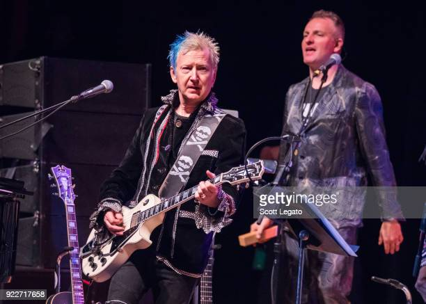Gerry Leonard and Joe Sumner perform during the Celebrating David Bowie concert at The Royal Oak Music Theater on February 19 2018 in Royal Oak...
