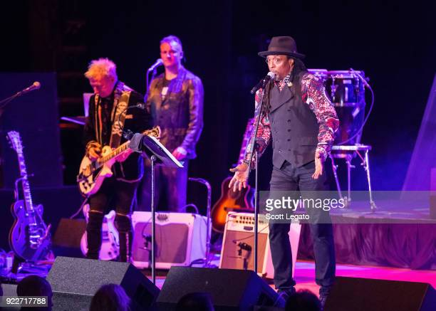 Gerry Leonard Joe Sumner and Bernard Fowler perform during the Celebrating David Bowie concert at The Royal Oak Music Theater on February 19 2018 in...