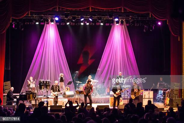 Gerry Leonard Joe Sumner Bernard Fowler and Earl Slick perform during the Celebrating David Bowie concert at The Royal Oak Music Theater on February...
