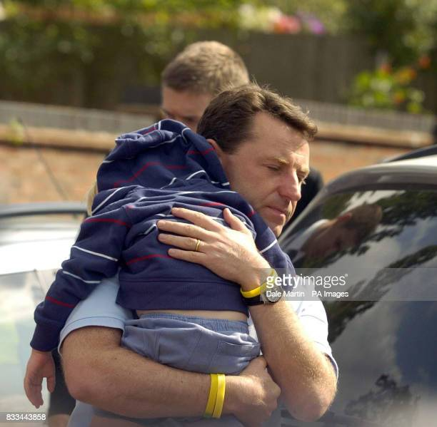 Gerry McCann father of Madeleine arrives back home in Rothley Leicestershire today with son Sean