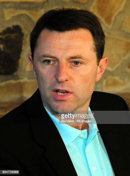 Gerry McCann gives a statement at the Rothley Court Hotel in Rothley Leicestershire after he and his wife Kate were formally cleared by the...