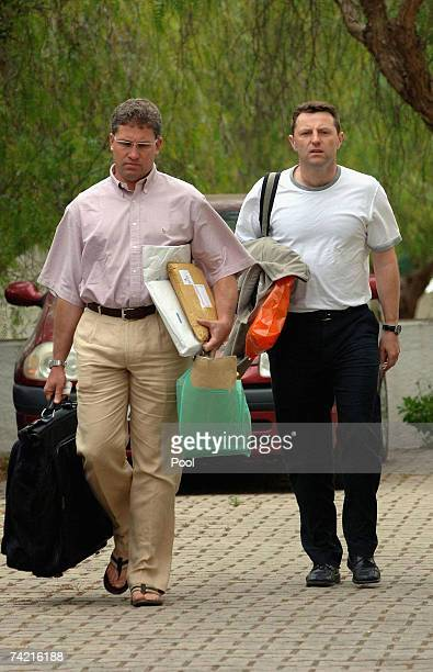 Gerry McCann returns to the apartment where he and his family are staying on May 22 2007 in Praia Da Luz Portugal McCann was returning to Portugal...
