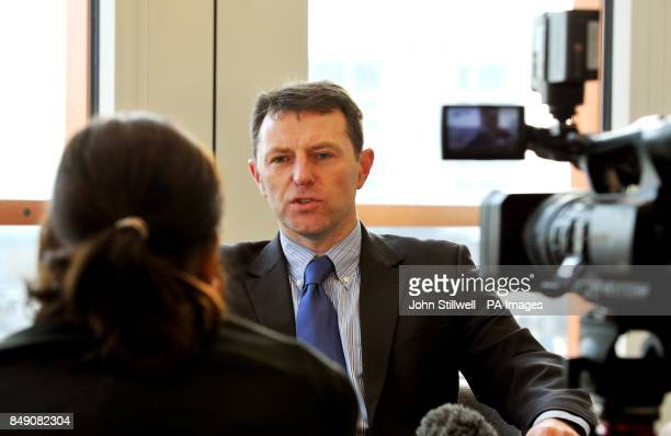 Gerry McCann whose daughter Madeline was abducted in Portugal in 2007 and has never been found gives his views during a TV interview in central...