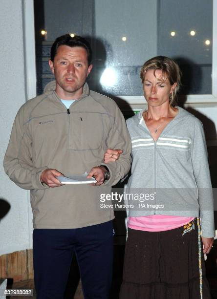 Gerry McCann with his wife Kate gives a statement to the press in the Algarve village of Praia Da Luz where their daughter threeyearold Madeleine...