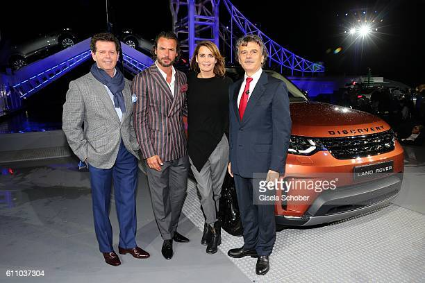 Gerry McGovern Stephan Luca Anja Kling and Dr Ralf Speth CEO Jaguar Land Rover during the world premiere of the allnew Land Rover Discovery at...