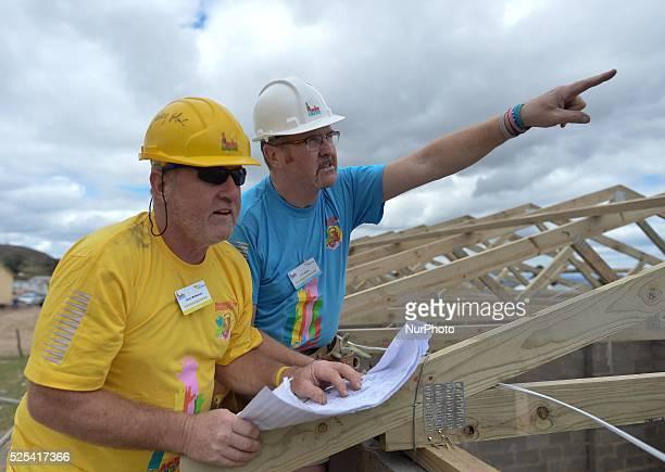 Gerry McNamara and JP Doyle working on the Mellon Educate School building blitz in Mandela's homeland Mthatha Eastern Cape South Africa 200...