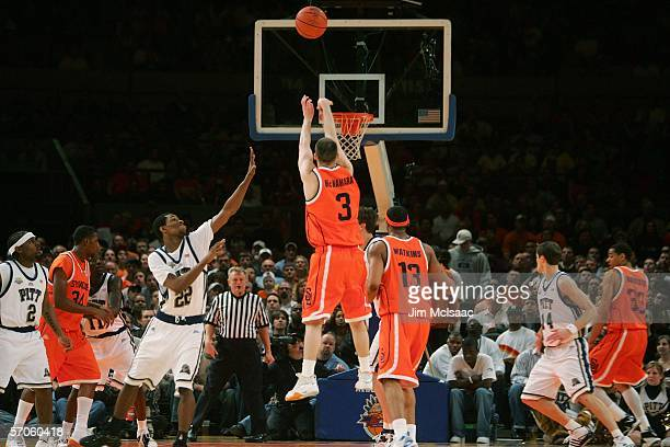 Gerry McNamara of the Syracuse Orange shoots a threepointer against the Pittsburgh Panthers during the Big East Men's Basketball Championship Final...