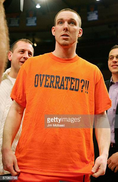 Gerry McNamara of the Syracuse Orange wears an Overrated shirt after defeating the Pittsburgh Panthers 6561 in the Big East Men's Basketball...
