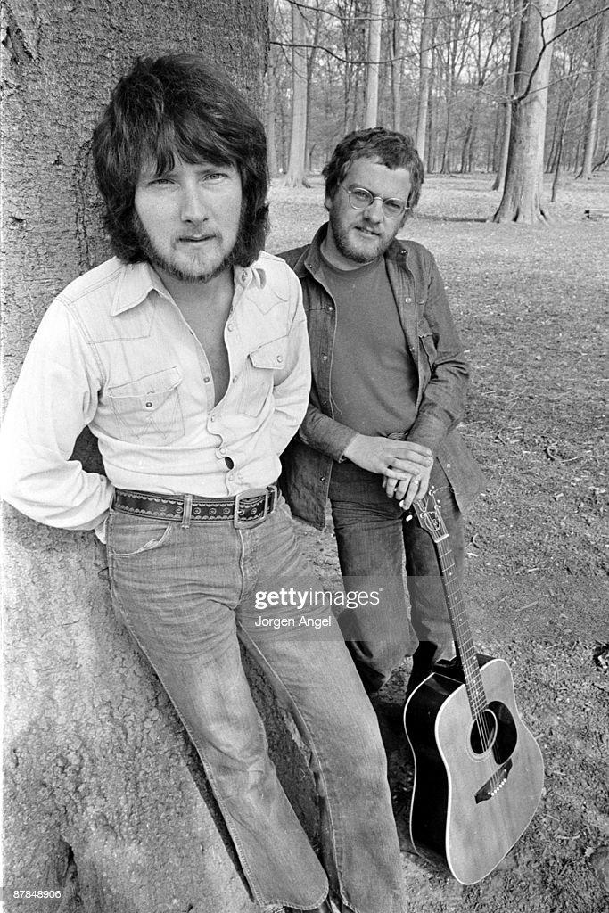 Gerry Rafferty and Joe Egan from Stealers Wheel posed outside Copenhagen, Denmark in April 1974