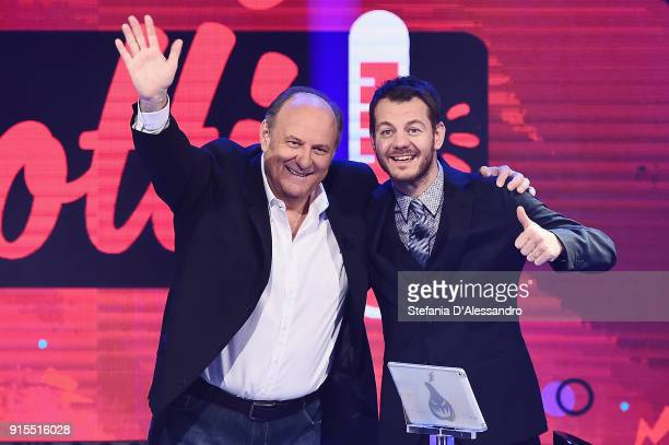 Gerry Scotti and Alessandro Cattelan attend 'E Poi C'e Cattelan' tv show on February 7 2018 in Milan Italy