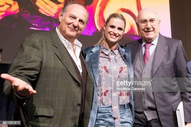 Gerry Scotti Michelle Hunziker and Pippo Baudo attend 'Tempo Di Libri' book show on March 12 2018 in Milan Italy