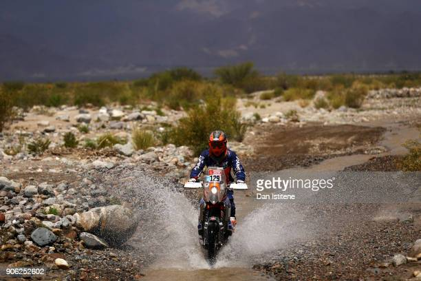 Gerry Van Der Byl of South Africa and BAS Dakar rides a KTM bike in the Classe 22 Marathon during stage eleven of the 2018 Dakar Rally between Belen...