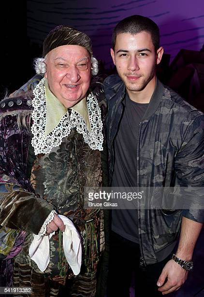 Gerry Vichi and Nick Jonas pose backstage at the hit musical Something Rotten on Broadway at The StJames Theatre on June 20 2016 in New York City
