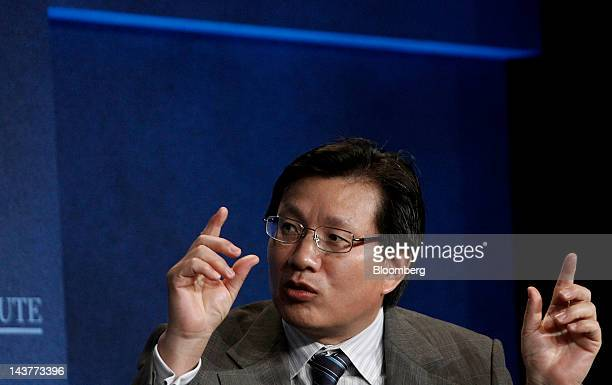 Gerry Wang chief executive officer and cochairman of Seaspan Corp speaks during a panel discussion at the annual Milken Institute Global Conference...