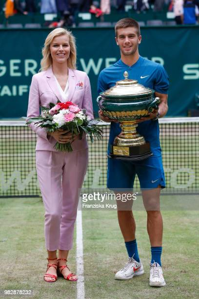 Gerry Weber testimonial international supermodel Eva Herzigova and tennis player Borna Coric of Croatia during the Gerry Weber Open 2018 at Gerry...