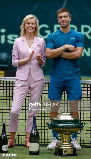 Gerry Weber testimonial international supermodel Eva Herzigova and tennis player Borna Coric of Croatia attend the Gerry Weber Open 2018 at Gerry...