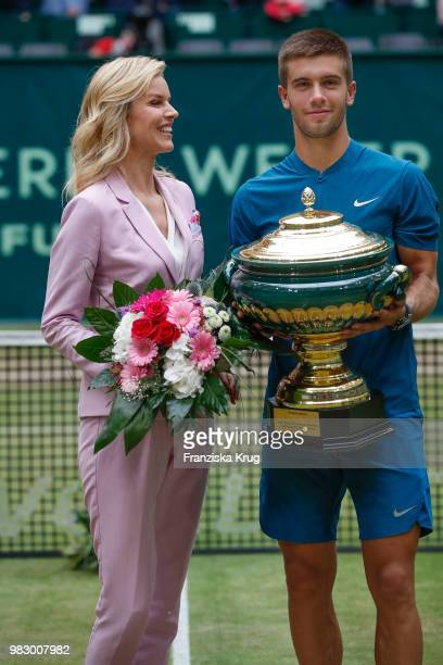 Gerry Weber testimonial international supermodel Eva Herzigova and tennis player Borna Coric during the Gerry Weber Open 2018 at Gerry Weber Stadium...