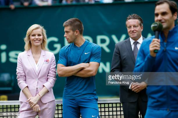Gerry Weber testimonial international supermodel Eva Herzigova tennis player Borna Coric of Croatia Ralf Weber CEO Gerry Weber and tennis player...