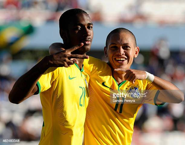 Gerson and Marcos Guilherme of Brazil celebrates his team second goal during a match between Paraguay and Brazil as part of South American U20 at...