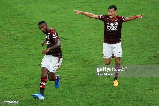 Gerson and Reinier of Flamengo celebrate a scored goal against Fluminense during a match between Flamengo and Fluminense as part of Brasileirao...