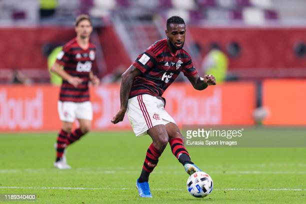 Gerson da Silva of Flamengo passes the ball during the FIFA Club World Cup SemiFinal match between CR Flamengo and Al Hilal FC at Khalifa...
