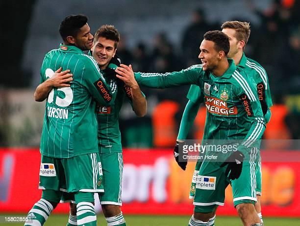 Gerson Michael Schimpelsberger and Terrence Boyd of Vienna celebrate during the tipp3 Bundesliga match between SK Rapid Wien and FC Wacker Innsbruck...