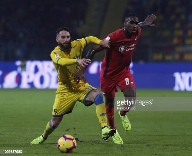 Gerson of ACF Fiorentina competes for the ball with Francesco Zampano of Frosinone Calcio during the Serie A match between Frosinone Calcio and ACF...