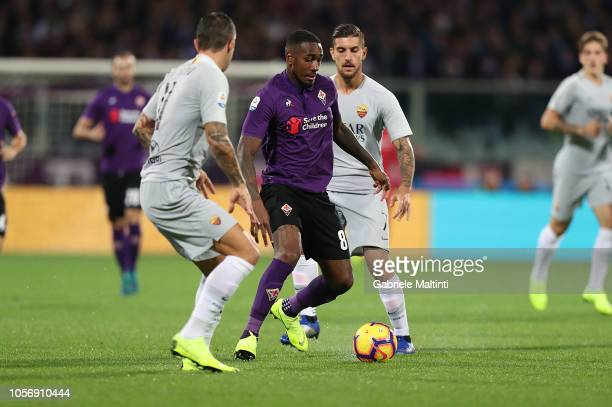 Gerson of ACF Fiorentina in action during the Serie A match between ACF Fiorentina and AS Roma at Stadio Artemio Franchi on November 3 2018 in...
