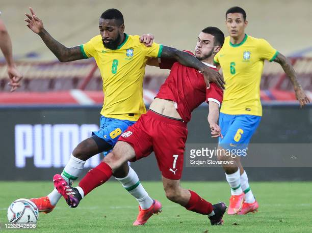 Gerson of Brazil in action against Dejan Tetek of Serbia during the International football friendly match between Serbia U21 and Brazil U23 at...