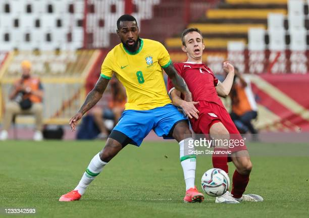 Gerson of Brazil in action against Marko Bjekovic of Serbia during the International football friendly match between Serbia U21 and Brazil U23 at...