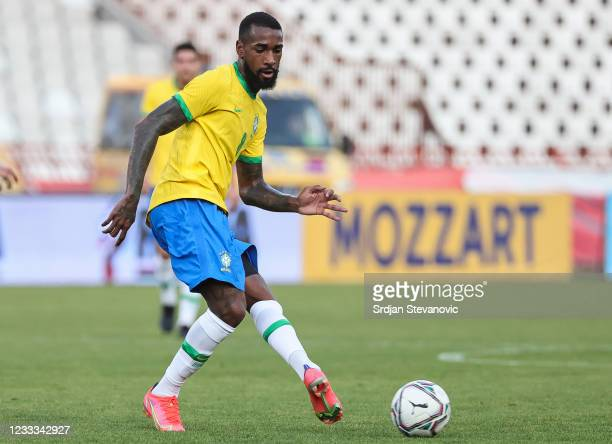 Gerson of Brazil in action during the International football friendly match between Serbia U21 and Brazil U23 at stadium Rajko Mitic on June 8, 2021...