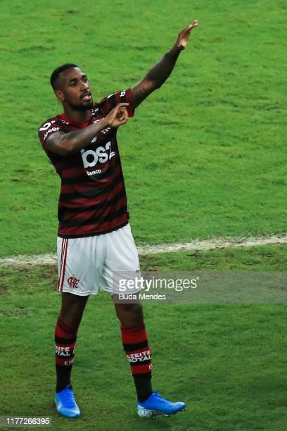 Gerson of Flamengo celebrates a scored goal against Fluminense during a match between Flamengo and Fluminense as part of Brasileirao Series A 2019 at...