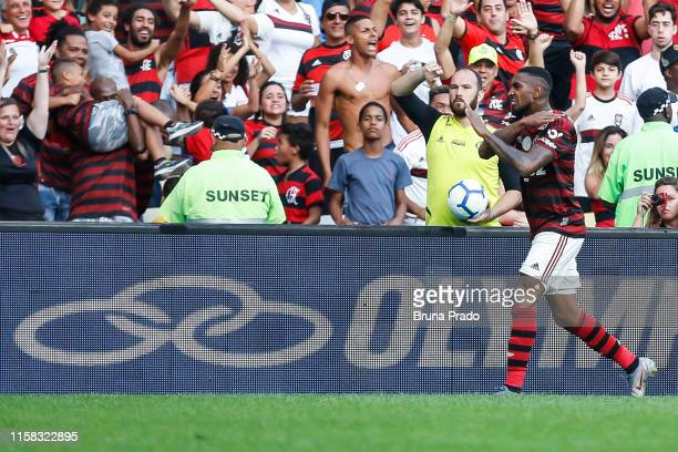 Gerson of Flamengo celebrates a scored goal during a match between Flamengo and Botafogo as part of Brasileirao Series A 2019 at Maracana Stadium on...