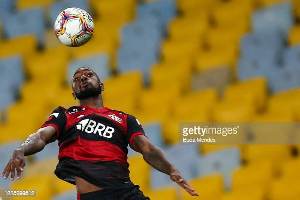 Gerson of Flamengo heads the ball during the match between Flamengo and Fluminense as part of the Taca Rio the Second Leg of the Carioca State...