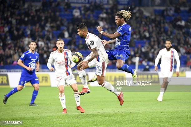 Gerson RODRIGUES - 03 Emerson PALMIERI DOS SANTOS during the Ligue 1 Uber Eats match between Lyon and Troyes at Groupama Stadium on September 22,...