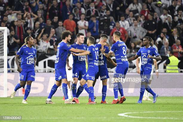 Gerson RODRIGUES - 21 Philippe SANDLER - 04 Giulian BIANCONE - 06 Rominigue KOUAME during the Ligue 1 Uber Eats match between Lyon and Troyes at...