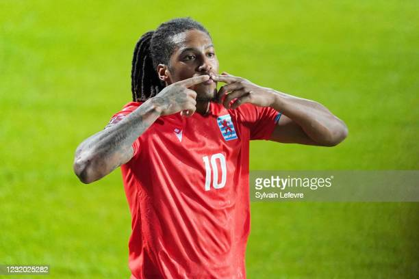 Gerson Rodrigues of Luxembourg celebrates after scoring his team's first goal during the FIFA World Cup 2022 Qatar qualifying match between...