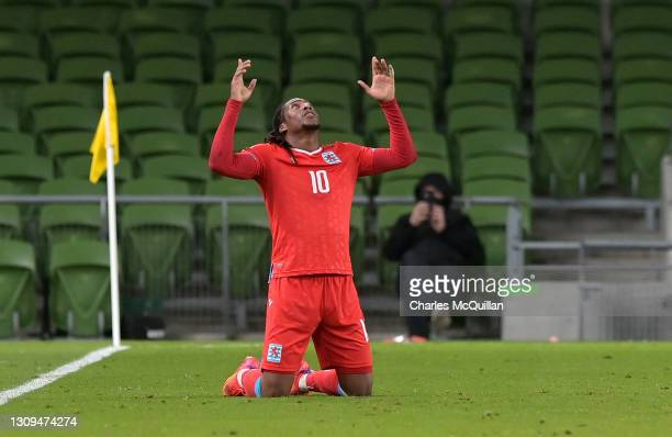 Gerson Rodrigues of Luxembourg celebrates after scoring their team's first goal during the FIFA World Cup 2022 Qatar qualifying match between...