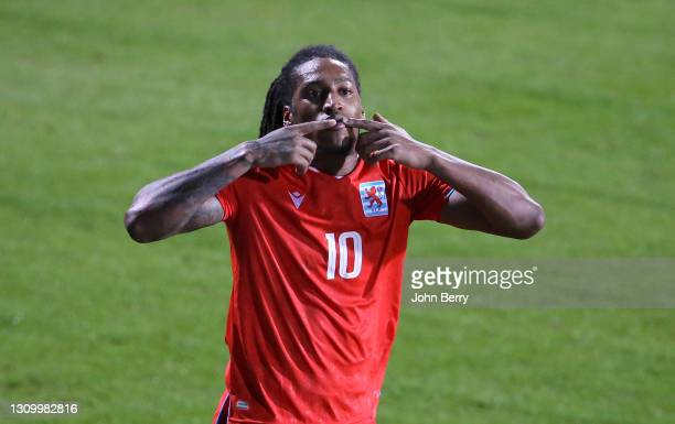 Gerson Rodrigues of Luxembourg celebrates his goal during the FIFA World Cup 2022 Qatar qualifying match between Luxembourg and Portugal at Josy...